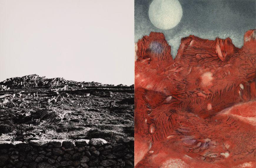 Leitmotiv der Ausstellung bestehend aus einer schwarz-weiß Fotografie einer kargen Landschaft von Helmut Hahn (links) und Kupferstich einer roter Felsenlandschaft vor blauem Himmel mit großem Mond von Max Ernst (rechts)