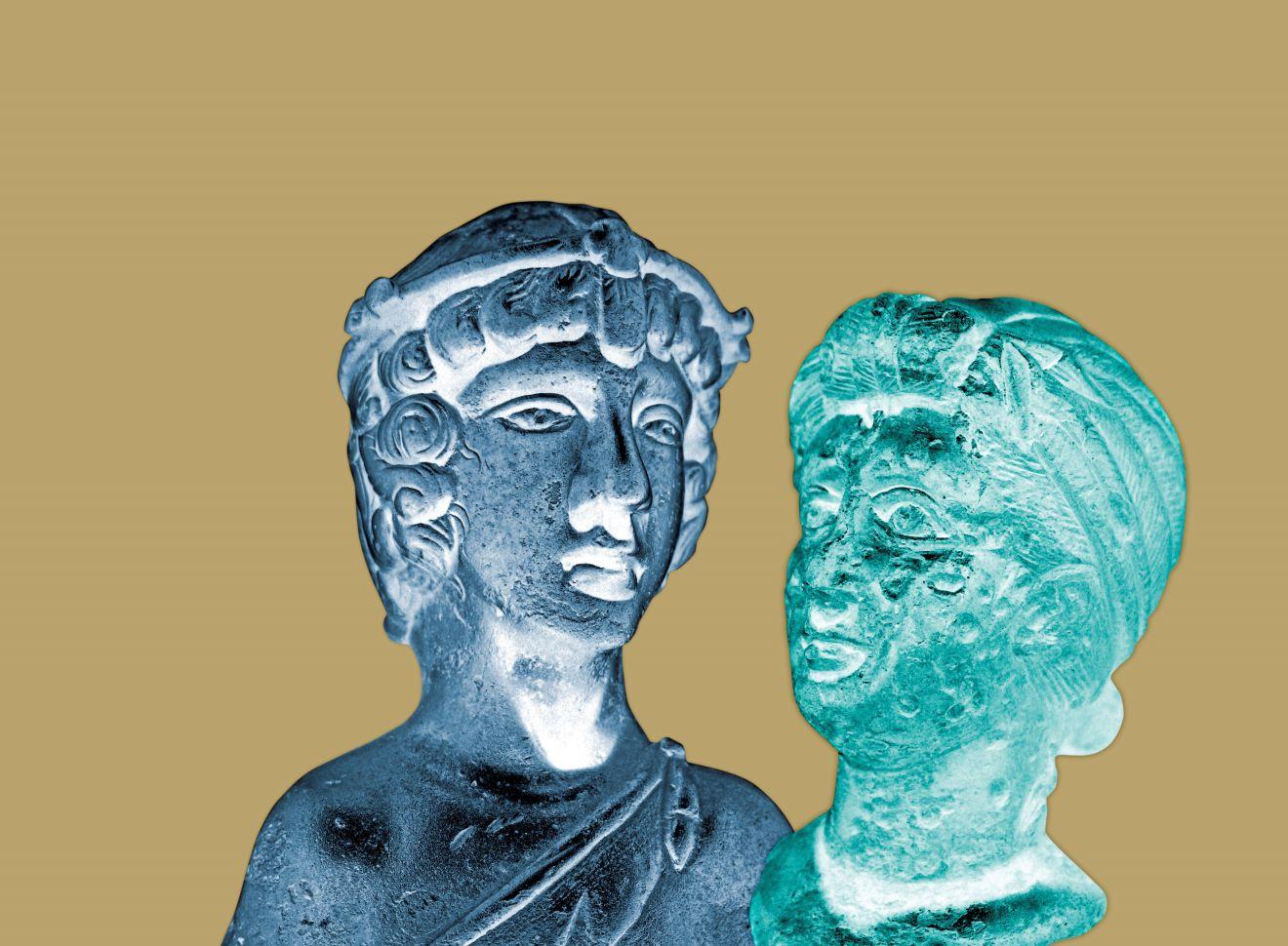 Titelmotiv mit zwei digital bearbeiteten römischen Büsten