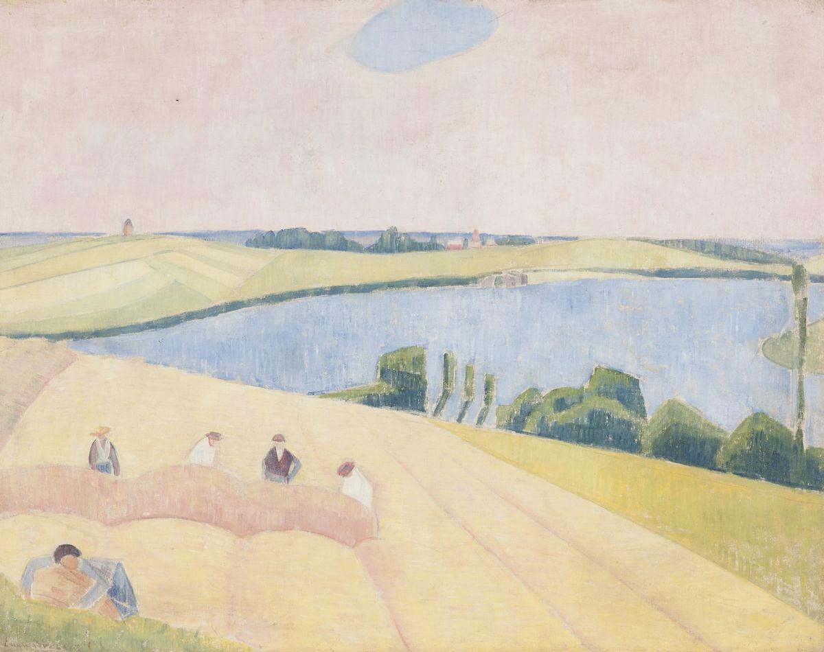 """Émile Henri Bernard hat 1889 das Bild """"Die Ernte in Saint-Briac"""" gemalt, auf dem er, in zarten Pastelltönen und flächigen geometrisierten Formen, einen Blick über die sommerliche Bretagnelandschaft zeigt, auf deren Feldern im Vordergund einige Bauern ihrer Arbeit nachgehen."""