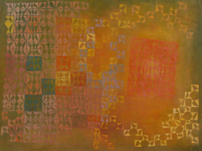 Das Werk von Helmut Hahn zeigt gelbe, grüne, rote und rosane Dreiecke und Vierecke in einer geometrischen Form auf einem grünen Hintergrund