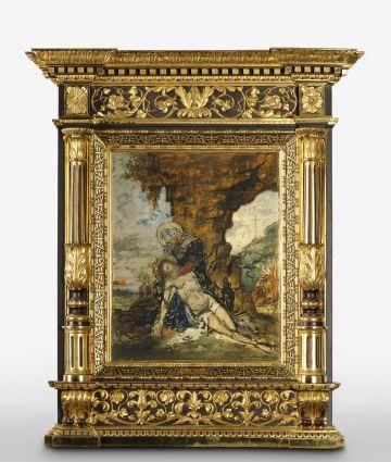 Skizzenhaftes Ölgemälde mit prunkvollem Goldrahmen auf dem die Gottesmutter Maria den Leichnahm Jesu im Arm hält