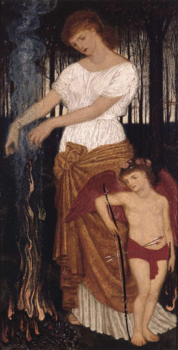 """Das Bild """"Venus und Cupido"""" von Walter Crance zeigt die Liebesgöttin Venus mit den geflügelten Cupido."""