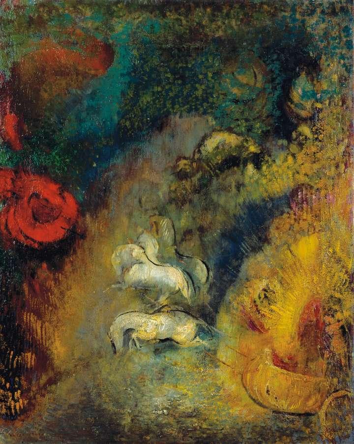 """Das farbenfrohe Bild """"Der Wagen des Apoll"""" von Odilon Redon zeigt den gelben Wagen des Gottes Apoll als Sonne, gezogen von vier weißen Pferden."""