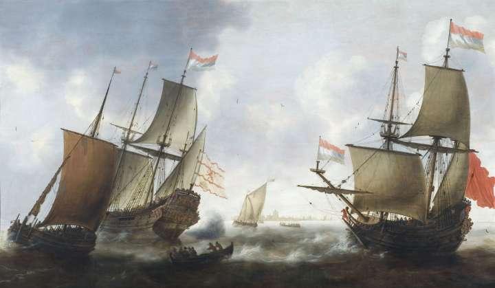 Das Gemälde zeigt mehrer große und kleine Schiffe auf einer stürmischen Seelandschaft.