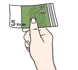 Zeichnung einer Hand die einen 5 Euro Geldschein hält