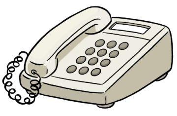Zeichnung eines Telefons; © Lebenshilfe für Menschen mit geistiger Behinderung Bremen e.V.,  Illustrator Stefan Albers, Atelier Fleetinsel, 2013.