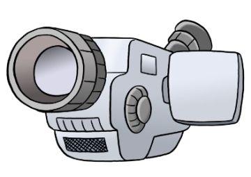 Videokamera, © Lebenshilfe für Menschen mit geistiger Behinderung Bremen e.V.,  Illustrator Stefan Albers, Atelier Fleetinsel, 2013.