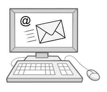 Zeichnung einen PC auf dem eine Mail versand wird; © Lebenshilfe für Menschen mit geistiger Behinderung Bremen e.V.,  Illustrator Stefan Albers, Atelier Fleetinsel, 2013.
