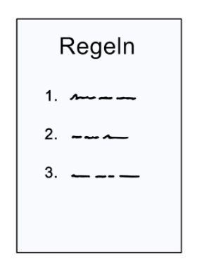 Zeichnung eines Papiers mit Regeln; © Lebenshilfe für Menschen mit geistiger Behinderung Bremen e.V.,  Illustrator Stefan Albers, Atelier Fleetinsel, 2013.