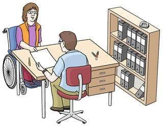 Zeichnung einer Person im Rollstuhl die bei einem Anwalt sitzt; © Lebenshilfe für Menschen mit geistiger Behinderung Bremen e.V.,  Illustrator Stefan Albers, Atelier Fleetinsel, 2013.