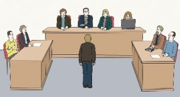 Zeichnung einer Person im Gerichtssaal; © Lebenshilfe für Menschen mit geistiger Behinderung Bremen e.V.,  Illustrator Stefan Albers, Atelier Fleetinsel, 2013.