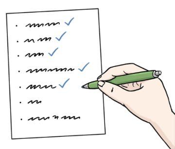 Zeichnung einer Hand die Text prüft und abhakt; © Lebenshilfe für Menschen mit geistiger Behinderung Bremen e.V.,  Illustrator Stefan Albers, Atelier Fleetinsel, 2013.
