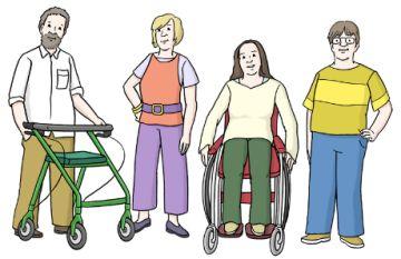 Zeichnung von Menschen mit Behinderung; © Lebenshilfe für Menschen mit geistiger Behinderung Bremen e.V.,  Illustrator Stefan Albers, Atelier Fleetinsel, 2013.