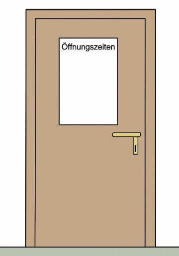 """Zeichnung einer Tür auf der """"Öffnungszeiten"""" geschrieben steht"""