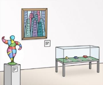 Zeichnung der Innenräume eines Museums