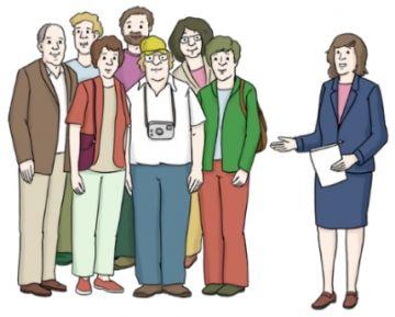 Zeichnung einer Gruppe Menschen bei einer Führung